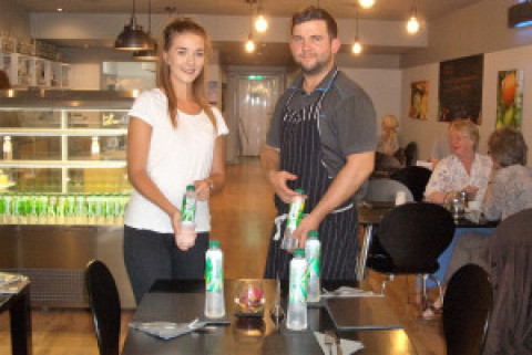 Healthy rainforest water flowing fast at Ric's healthy lifestyle cafe